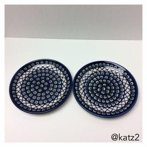 """Polish Pottery 7 1/2"""" Plates, Set of 2- NWOT"""